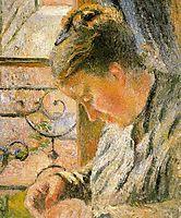 Portrait of Madame Pissarro Sewing near a Window, c.1879, pissarro