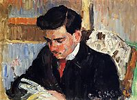 Portrait of Rodo Pissarro Reading, c.1900, pissarro