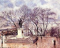 The Raised Terrace of the Pont Neuf, Place Henri IV, Afternoon, Rain, 1902, pissarro