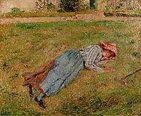 Resting, Peasant Girl Lying on the Grass, Pontoise, 1882, pissarro
