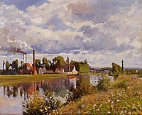 The River Oise near Pontoise, 1873, pissarro