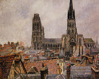 The Roofs of Old Rouen Grey Weather, 1896, pissarro