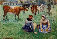 Seated Peasants Watching Cows, 1886, pissarro