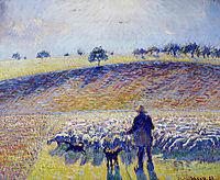Shepherd and Sheep, 1888, pissarro
