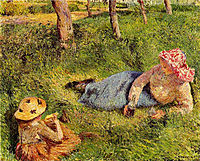 The Snack, Child and Young peasant at Rest, 1882, pissarro