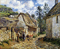 A Street in Auvers (Thatched Cottage and Cow), 1880, pissarro
