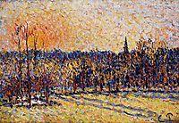 Sunset, Bazincourt Steeple, c.1890, pissarro