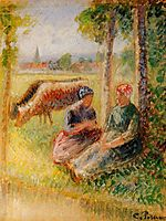 Two Cowherds by the River, c.1895, pissarro