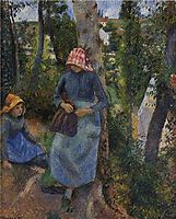 Two Young Peasants Chatting under the Trees, 1881, pissarro
