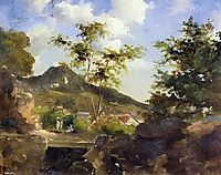 Village at the Foot of a Hill in Saint Thomas, Antilles, c.1855, pissarro