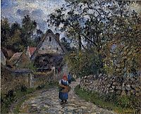The village path - thatched cottages in Valhermeil, 1880, pissarro