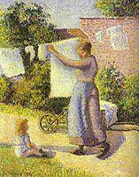 Woman Hanging up the Washing, 1887, pissarro