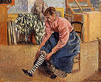 Woman Putting on Her Stockings, 1895, pissarro