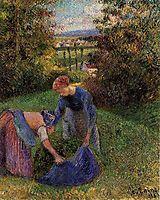Women Gathering Grass, 1883, pissarro