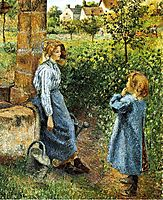 Young Woman and Child at the Well, 1882, pissarro