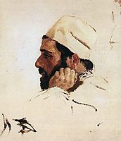 Head of I. I. Levitan turned like the head of Christ in the , 1894, polenov