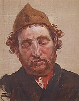 Head of red-headed man with yellow cap, c.1885, polenov