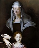 Portrait of Maria Salviati with Giulia de Medici, c.1537, pontormo