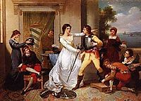 Dona Filipa de Vilhena knighting her sons, 1801, portuense