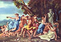 Bacchanal before a Statue of Pan, 1633, poussin