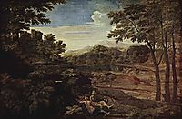 Landscape with two nymphs, 1659, poussin