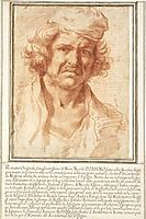 Selfportrait in red chalk, 1630, poussin