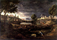 Stormy Landscape with Pyramus and Thisbe, poussin