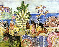 Fantasy (also known as Fantasy with Flowers, Animals and Houses), c.1915, prendergast