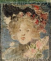 Head of a Girl (with Roses), c.1899, prendergast
