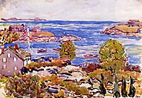 House with Flag in the Cove, c.1911, prendergast