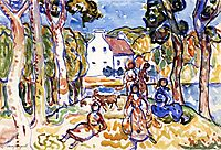 Landscape with Figures and Goat, c.1919, prendergast