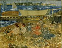 Shipyard Children Playing, c.1902, prendergast