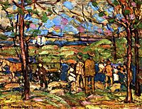 Squanton (also known as Men in Park with a Wagon, Squanton), c.1910, prendergast