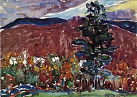 Village Against Purple Mountain, c.1913, prendergast