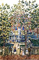 The West Church (also known as Fountain at the West Church, Boston), c.1901, prendergast