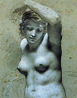 Bust of female nude, prudhon