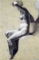 Drawing of Female Nude with charcoal and chalk, 1800, prudhon