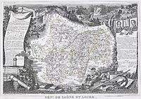 Map of the Saône and Loire region in France, prudhon