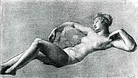 Reclining female nude, prudhon