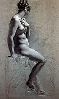 Seated Female Nude, c.1800, prudhon