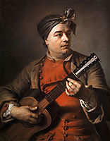 Jacques Dumont le Romain playing the guitar, quentindelatour