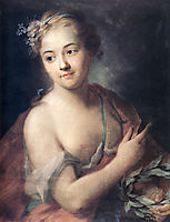 Nymph followed by Apollo holding a laurel wreath, quentindelatour