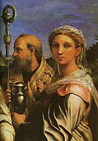 Saint Cecilia with Saints Paul, John Evangelists, Augustine and Mary Magdalene, detail #1, 1513-1516, raphael