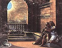 Isaac and Rebecca Spied upon by Abimelech, 1519, raphael
