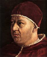Pope Leo X with Cardinals Giulio de Medici and Luigi de Rossi, detail_1, 1518-1519, raphael