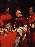 Portraits of Leo X  Cardinal Luigi de- Rossi and Giulio de Medici , 1518, raphael