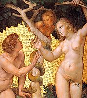 The Saintanza della Segnatura Ceiling, Adam and Eve, detail_1, 1509-1511, raphael