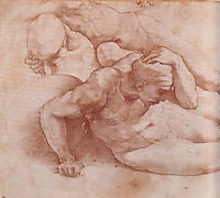 Two Figures, Study for The Last Judgement, 1541, raphael
