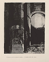 And on every side are columns of basalt, ... the light falls from the vaulted roof (plate 3), 1896, redon