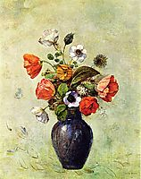 Anemones and Poppies in a Vase, redon